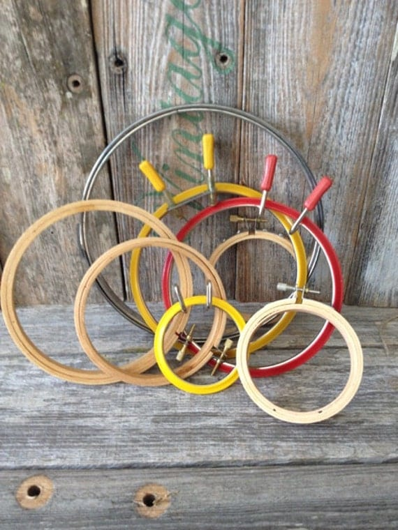 Vintage set of round embroidery hoops sewing