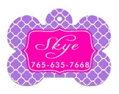 Purple and Pink tags, Personalized Pet ID Tag, Dog tags, pet id tags, cute pet tags,  double sided tags, id tags for pets