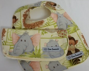 Baby bib and burp cloth, Gender neutral bib and  burp cloth, Zoo animal bib and burp cloth, Baby shower gift,  bib and burp cloth,