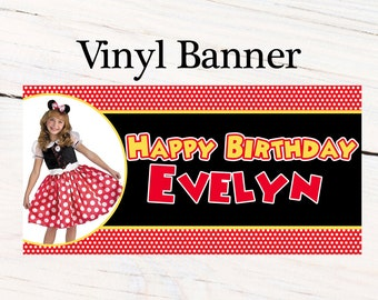 Happy Birthday Personalized Photo Banner~ Personalized Red Polka Dots Party Banners Large Party Banner