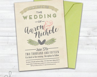 Rustic Wedding Invitation | Outdoor Wedding | Country Wedding | Fall Wedding Invitation | Simple | Summer | Printable Wedding Invitation