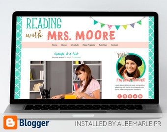 Premade Blogger Template, Mobile Responsive, Teacher Blog with Colorful Bunting - Mrs. Moore