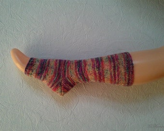 Yoga socks, toeless socks, dancing, Pilates, hand knitted, pink purple beige, pedicure, with heel