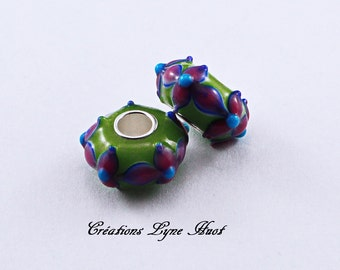 Choose 2 or 5 charm beads Murano glass, European style with color patterns Green, Purple and Burgundy !