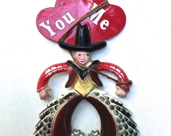 Celluloid Cowboy Heart Valentine Pin Brooch Component 1940's 1930's