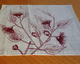 Double sided Screen printed linen napkins x4