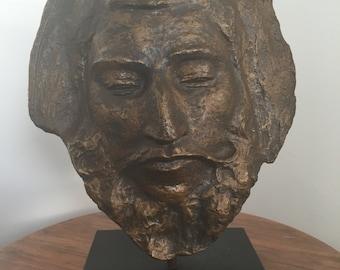 Vintage Plaster Mask Sculpture Man's Face on Stand