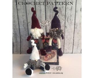 "CROCHET PATTERN - Scandinavian Christmas Gnome, Tomte, Nisse 11"" Doll"