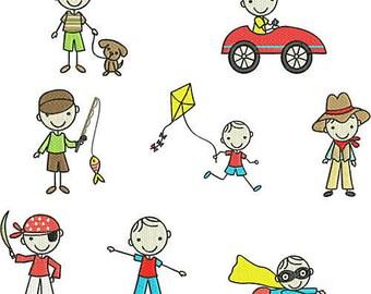 Instant Download Machine Embroidery Designs  Pes format Boy Stick Figures Superhero Fishing Cowboy Pirate kite car