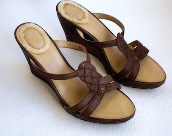 """UGGS Australia,Women Wedge Heel, 4"""", 10 cm.Sandals. Brown Leather,Leather Lined,Size Usa 8,Uk 6,5,Eur 39, Japan 250"""