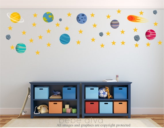 Outer space wall decal alien wall decals wall decals for Wall decor outer space