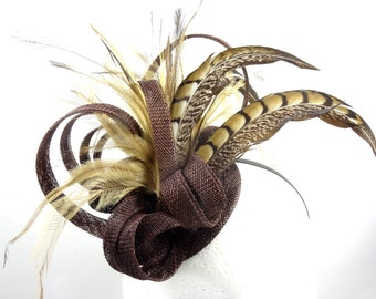 Fascinator hat, chocolate brown and feather headpiece, hatinator