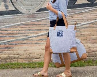 Monogrammed Seersucker Weekender, Shoulder or Cosmetic Bag - Monogram Gift