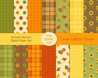 "Autumn Paper set - Fall Digital paper pack - 12x12"" - 300DPI JPEG Files - 14 patterns"