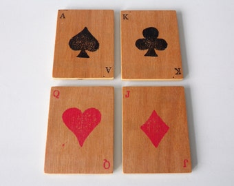 Rustic Style Playing Cards Plywood Wooden Fridge Magnet Set