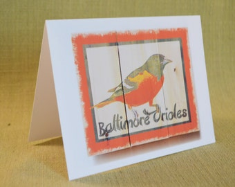 Baltimore Oriole Blank Greeting Card- Baltimore Oriol image on Wood Pallet