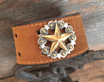 Western Star Leather Bracelet, Recycled Leather Belt, Bursting Barns Bling, Upcycled