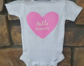 Hello I'm new here baby girl onsie!