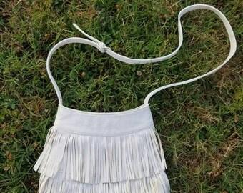Vintage Fringe Bag Crossbody Purse White Hippie Gypsy Strappy