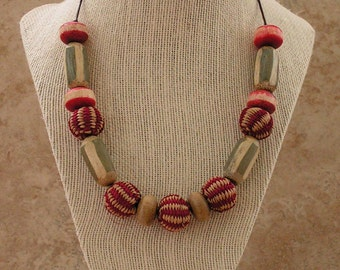 Iraca Fiber and Bamboo Necklace - Red Fiber Necklace - Red Necklace