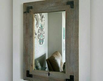 Rustic Mirror w/Metal Corner Brackets