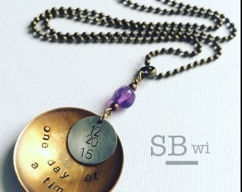 Sobriety necklace in mixed metal with amethyst detail