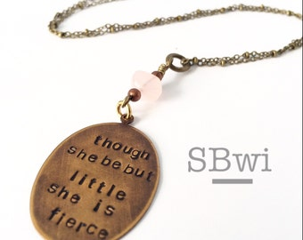Though she is but little she is fierce children's necklace in bronze with rose quartz crystal detail