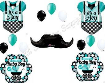 AQUA Baby Boy Onesie & mustache Baby Shower Balloons Decoration Supplies Newborn