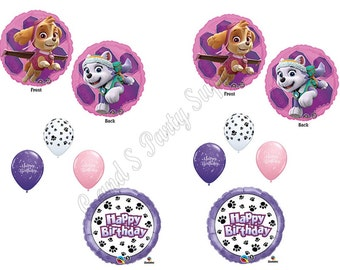 SKYE & EVEREST Paw Patrol 10 Pc. Birthday Party Balloons Decoration Supplies