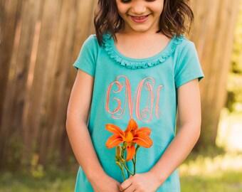 Monogram Short Sleeve Dress | Infant Dress | Monogrammed Dress | Girls Dress | Toddler Dress | Birthday Dress | Spring Dress