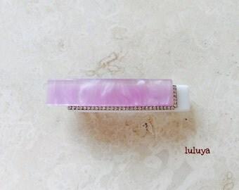 White Light Purple Orchid w/ Crystals Rhinestone Acrylic Hair Clip Pin Barrette