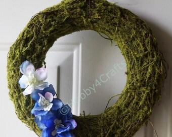 Rustic Wreath Moss Rattan Twig Wreath with Blue Wildflowers