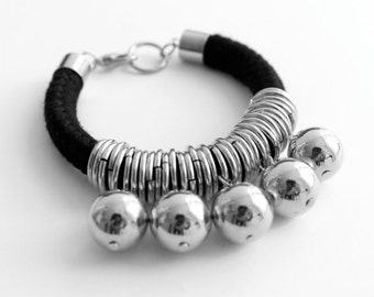 Boho chic bracelet, black and silver cotton cord bracelet with loops and beads