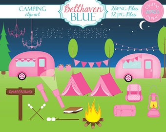 Pink Camping Clipart and Digital Paper