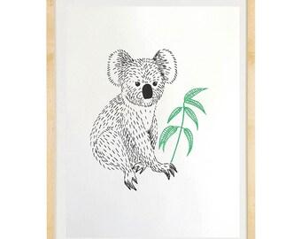 Screenprinted A4 poster koala, two colors