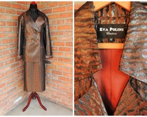 Vintage Eva Polini Couture Plus Size Skirt & Blazer Suit Cognac Brown Metallic Rhinestone Buttons Double Breasted Deux Pieces Made in U.S.A