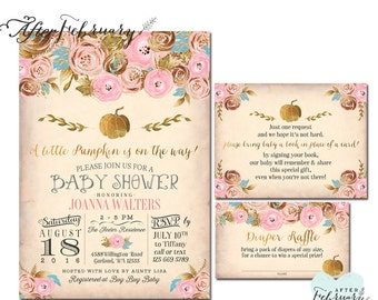3-Piece Gold and Pink Pumpkin Baby Shower Invitation + Book Insert + Diaper Raffle Girl Baby Shower Little Pumpkin Printable No.1271BABY