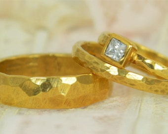 Square CZ Diamond Engagement Ring, 14k Gold, Diamond Wedding Ring Set, Rustic Wedding Ring Set, April Birthstone, Solid Gold