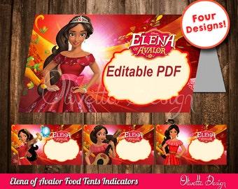 Elena of Avalor EDITABLE Food Tents, birthday decoration, Elena of Avalor, Food cards, party ideas, custom birthday - INSTANT DOWNLOAD