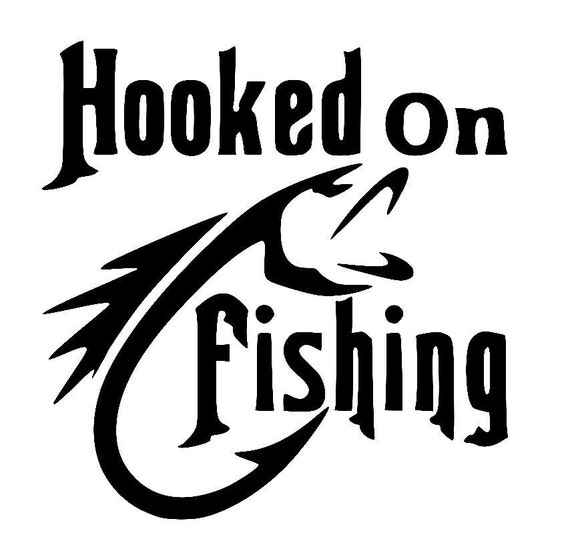 hooked on fishing decal by chunkymonkeybeeds on etsy