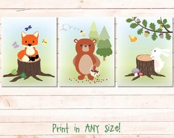 woodland nursery print set download, fox bear bunny baby boy girl nursery kids room playroom wall art decor printable instant download jpg
