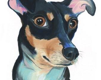 """8x10"""" // Custom Dog Portrait // Original Gouache Painting on Archival Watercolor Paper"""