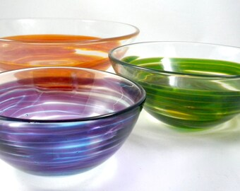 Hand Blown Glass Swirl Nesting Bowls- colorful bowls, kitchen, tableware, stackable, wild, vibrant, organic, great gift