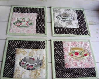 Quilted Mug Rugs Set of 4 Patchwork Coffee placemats Handmade Cups Quilted mats, coasters green, brown