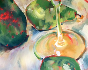 """Wine Glass with Pears - 20x24"""" Original Oil Painting"""