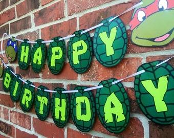 Ninja Turtle Happy Birthday Banner - Teenage Mutant Ninja Turtles Birthday Banner - TMNT Party - Ninja Turtle Inspired Party Decor