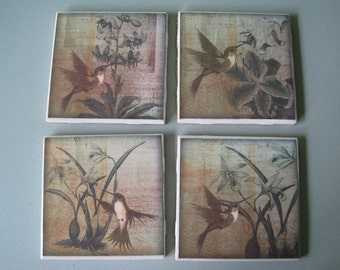 Hummingbirds Ceramic Tile Coasters - Set of 4