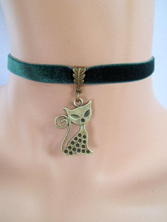 Cat Choker Green Velvet Choker Cat Necklace By Velvetheartshop