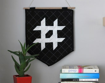 The Quilted Wall Hanging - Black + Ivory - Personalize Your Letter or Symbol