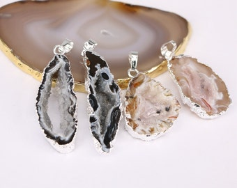 5pcs Nature Druzy Agate Geode Druzy Quartz Gemstone Pendant, Slice Agate Pendant, Silver plated Druzy Pendant, Jewelry Making
